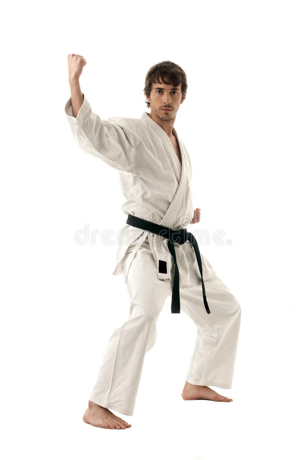 Karate male fighter young isolated on white. Background stock photo
