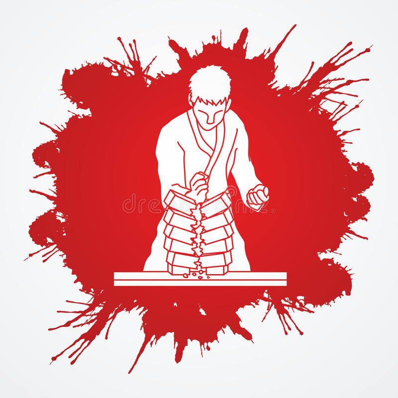 Karate. Man breaking bricks designed on grunge blood background graphic vector royalty free illustration