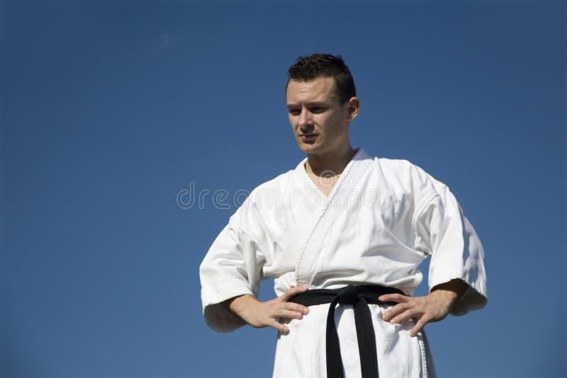 Karate - man in kimono royalty free stock photography