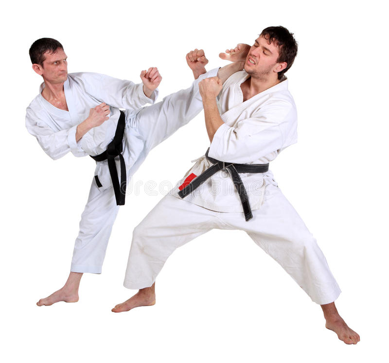 Karate. Men in a kimono stock photography