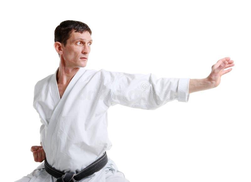 Karate. Mens in een kimono royalty-vrije stock fotografie