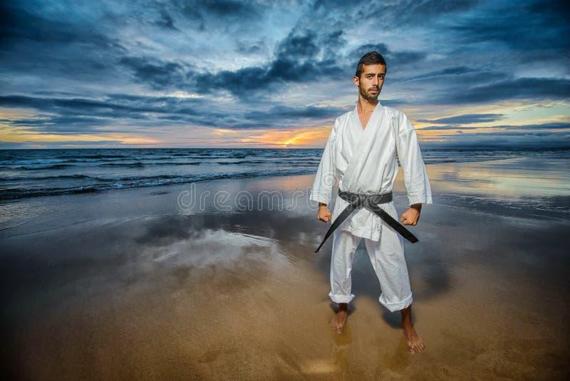 Karate mistrz z dramatycznym niebem obrazy royalty free