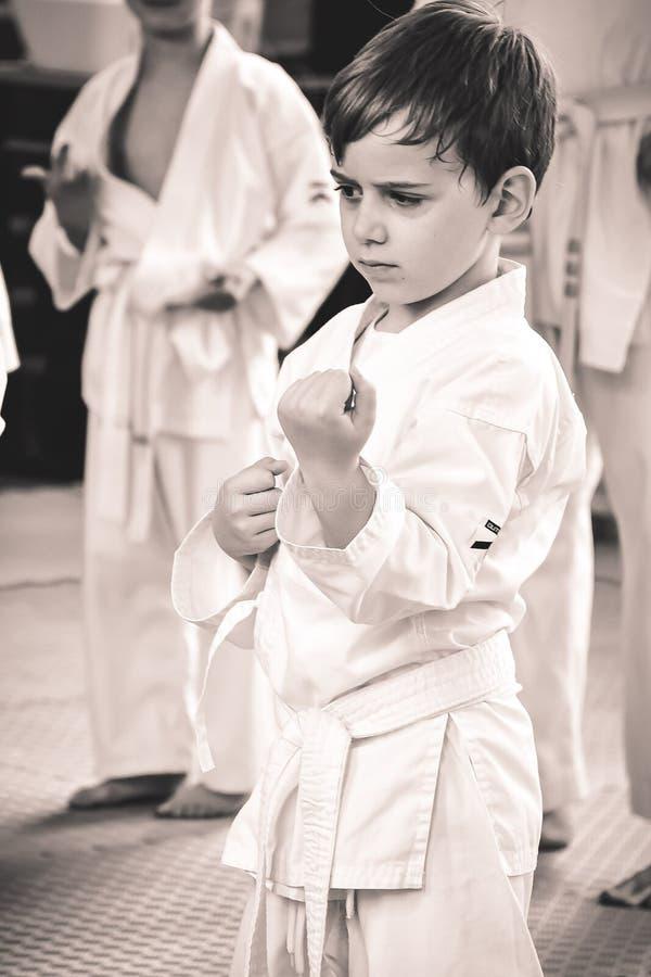 Karate opleiding stock afbeeldingen