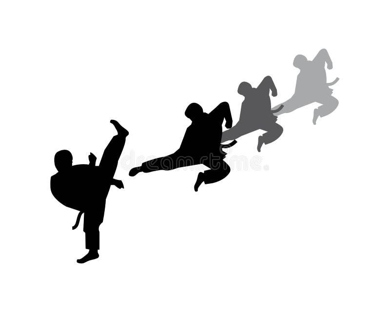 karate, plantilla del ejemplo del vector del logotipo del retroceso del Taekwondo stock de ilustración