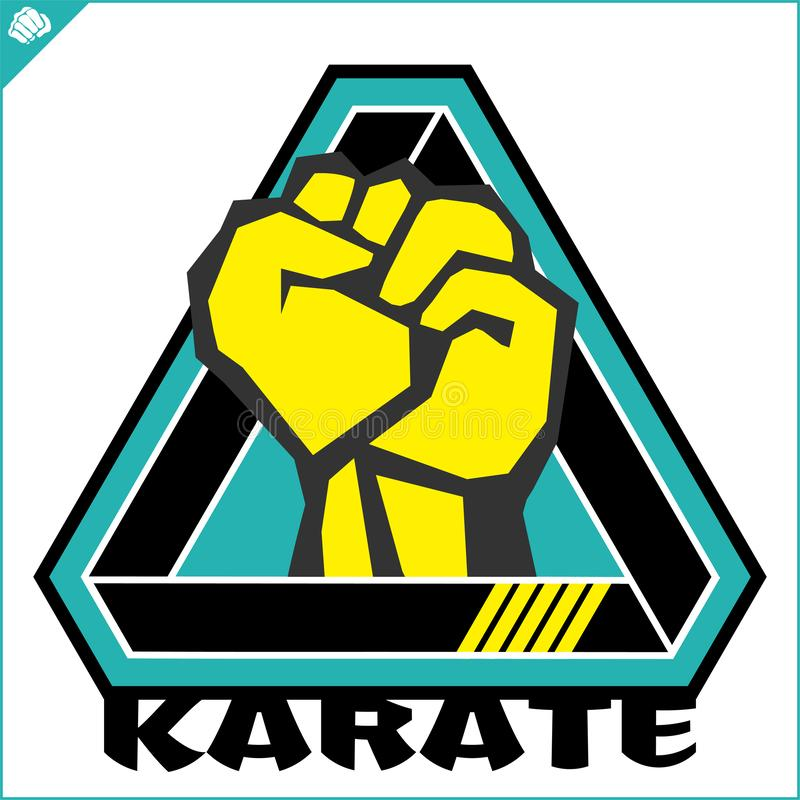 Karate power fist emblem. Martial art colored simbol design. Vector, EPS royalty free stock photo