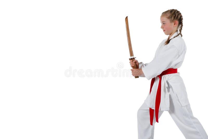 Karate que va de la muchacha de Tweenage foto de archivo