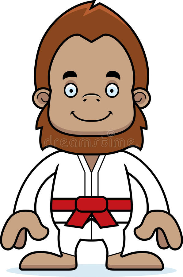 Karate Sasquatch χαμόγελου κινούμενων σχεδίων διανυσματική απεικόνιση