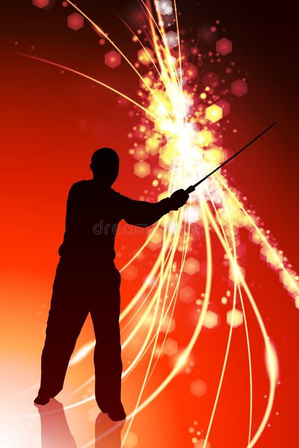 Karate Sensei med svärdet på abstrakt ljus bakgrund stock illustrationer