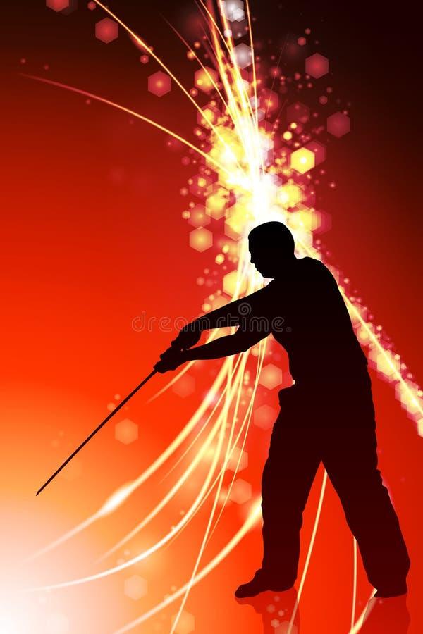 Karate Sensei med svärdet på abstrakt ljus bakgrund royaltyfri illustrationer