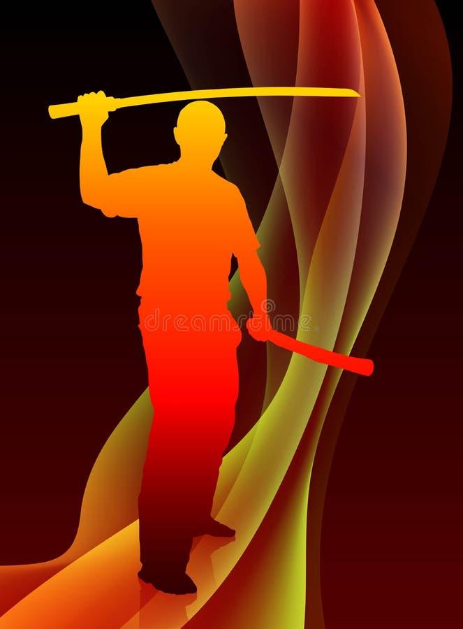 Karate Sensei med svärdet på abstrakta Blaze Wave Background royaltyfri illustrationer