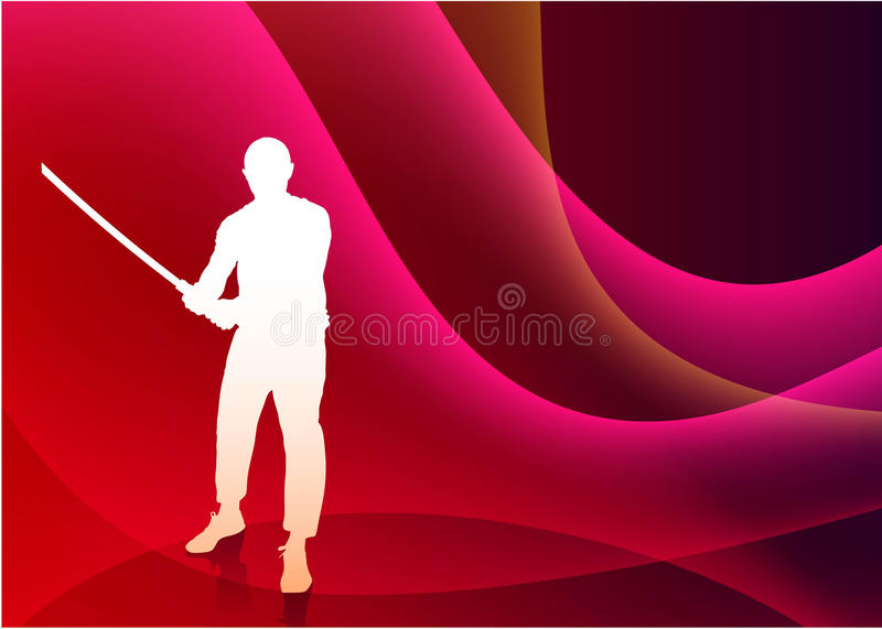 Karate Sensei med svärdet på abstrakta Violet Wave Background stock illustrationer