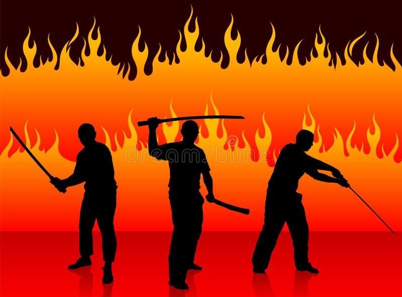 Karate Sensei med svärdet på brandbakgrund royaltyfri illustrationer