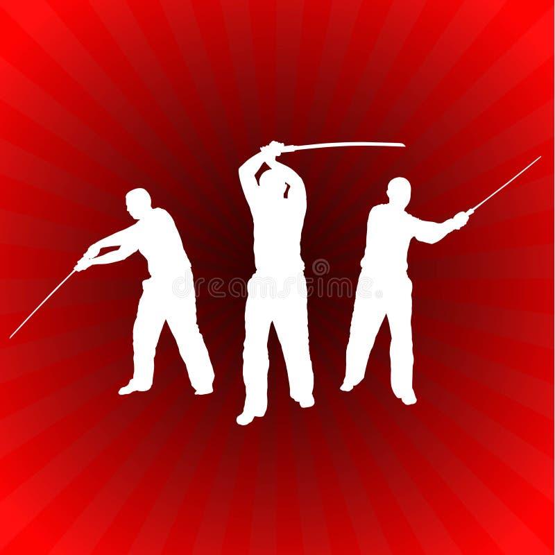 Karate Sensei med svärdet på glödande röd bakgrund vektor illustrationer