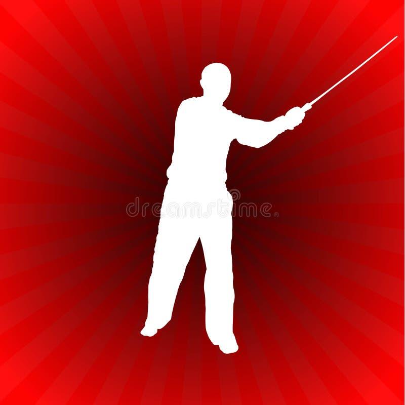 Karate Sensei med svärdet på glödande röd bakgrund royaltyfri illustrationer