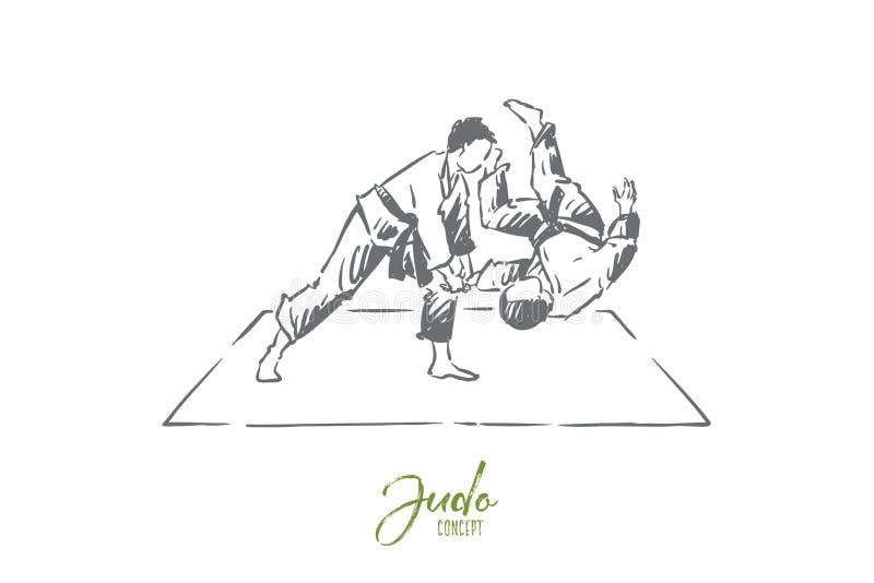 Karate som munhuggas, ung kämpe i kimono som kastar motståndaren på matt orientalisk stridövning, utbildning vektor illustrationer