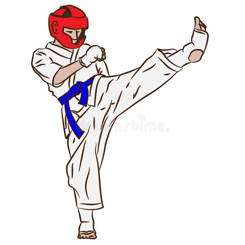 Karate of taekwondo Strijd in vectoractie Schop van 3d art. royalty-vrije illustratie