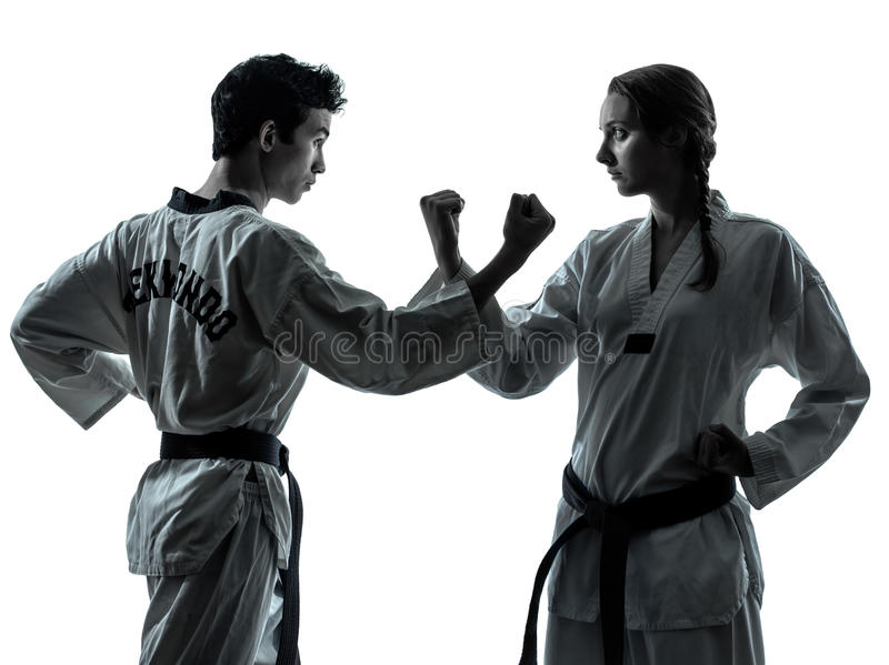 Karate Taekwondo sztuk samoobrony mężczyzna kobiety sylwetka zdjęcia stock