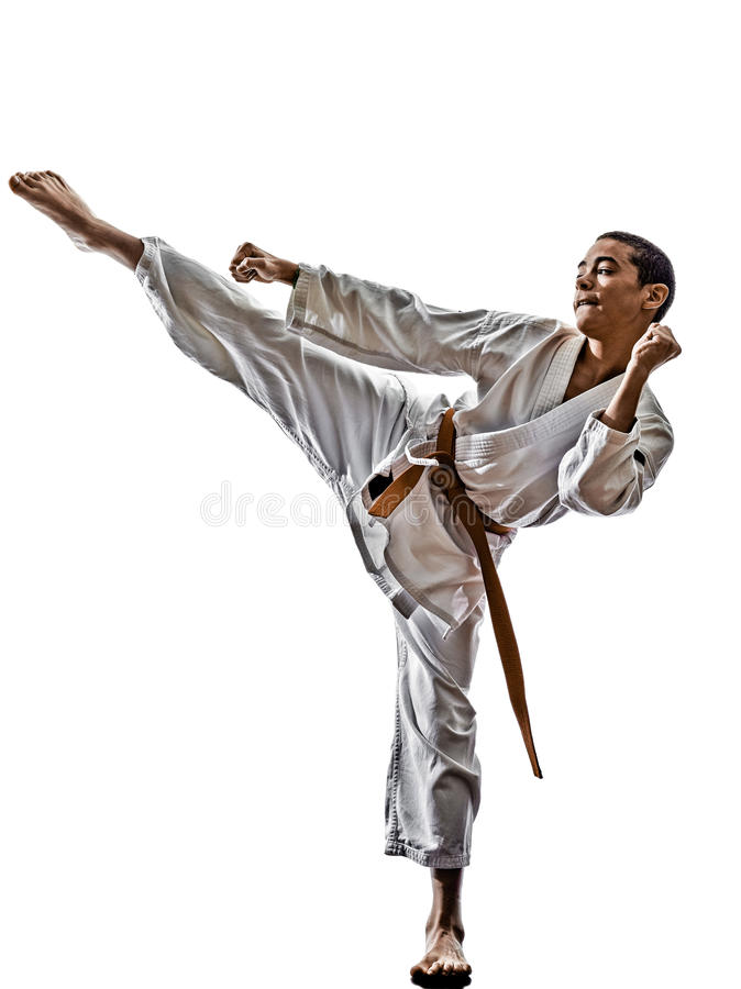 Karate teenagers kid. One karate katana training teenagers kid isolated on white background royalty free stock image