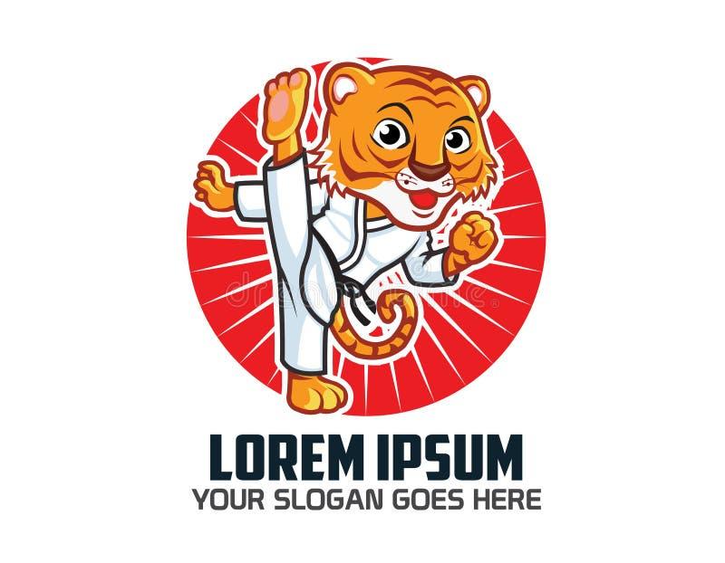 Karate Tiger Logo stock illustrationer