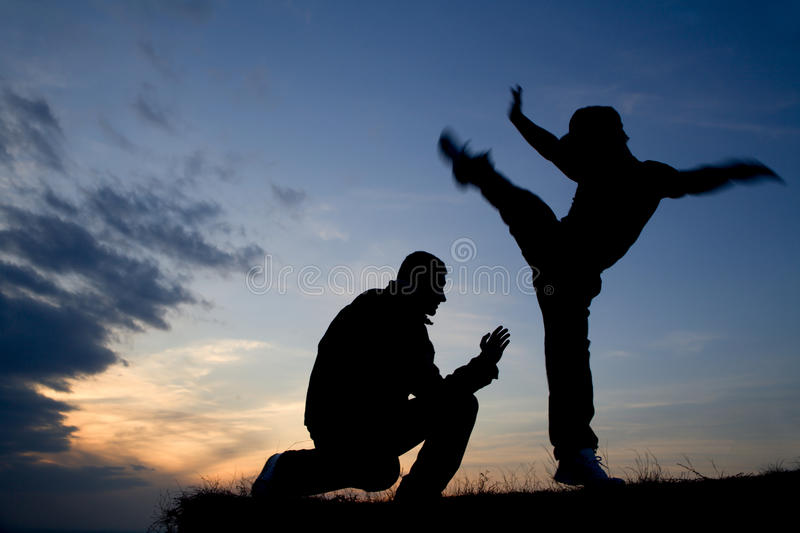 Karate training in evening royalty free stock image