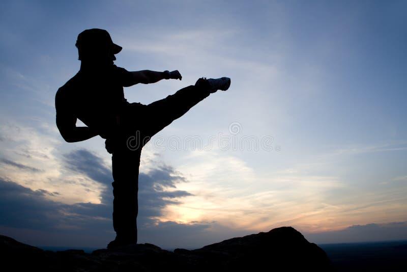 Karate training in evening stock photos