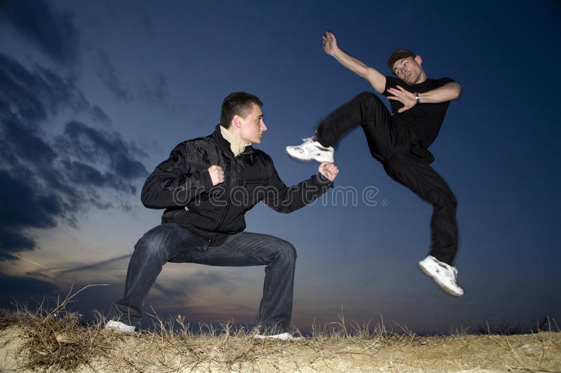 Karate training in evening royalty free stock images