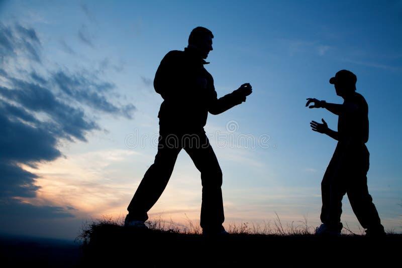 Karate training in evening royalty free stock photos