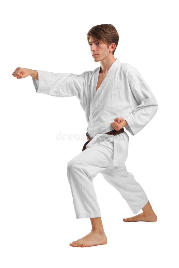 karate Um homem está executando um perfurador Isolado no fundo branco fotografia de stock