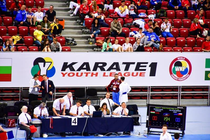 Karate 1 - ungdomliga Sofia 2018, Maj 25-27 royaltyfria bilder