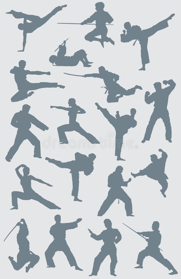 Free Karate Vector Figures Royalty Free Stock Image - 5559836