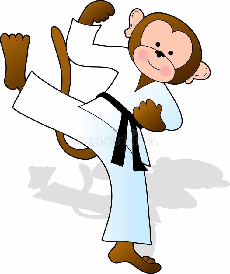 karateapa royaltyfri illustrationer