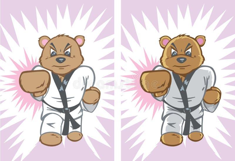 Karatebjörn vektor illustrationer