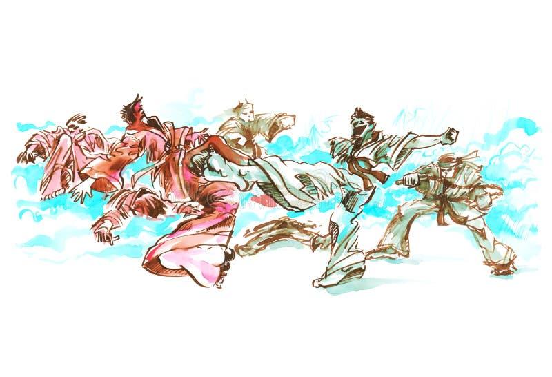 Karatedo, Jiu Jitsu Fighting cartoon scene, character, story board water food color rough painting stock images