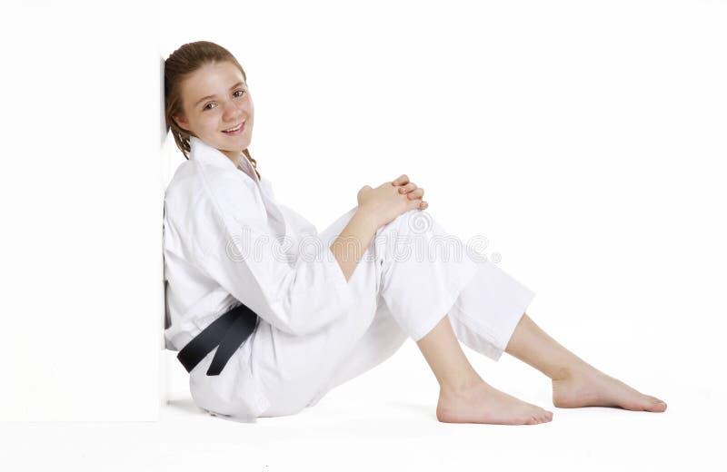 Karateflicka. royaltyfri bild