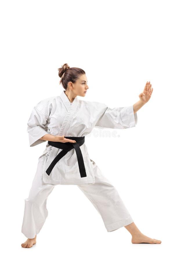 Karateflicka som gör en kata royaltyfri fotografi