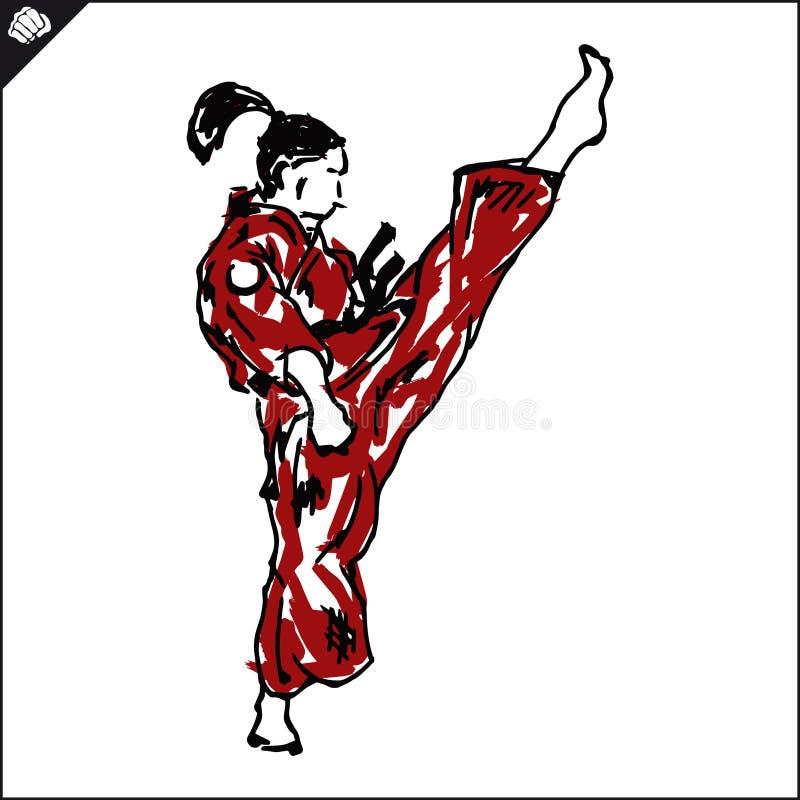 KARATEflickan, den höga kvinnakämpen sparkar in dogien, kimono royaltyfri illustrationer