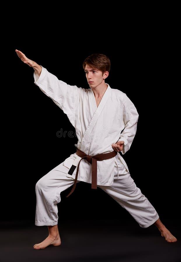 Karatejunge im Kimono, der im Studio aufwirft Getrennt auf Weiß lizenzfreie stockfotos