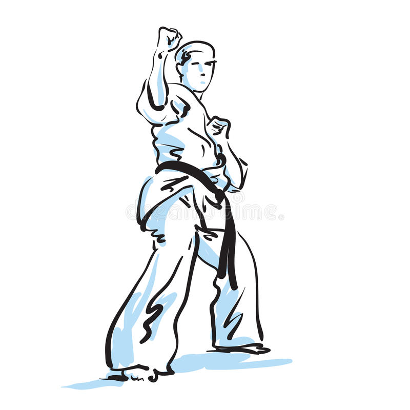 Karatekämpfer lizenzfreie abbildung
