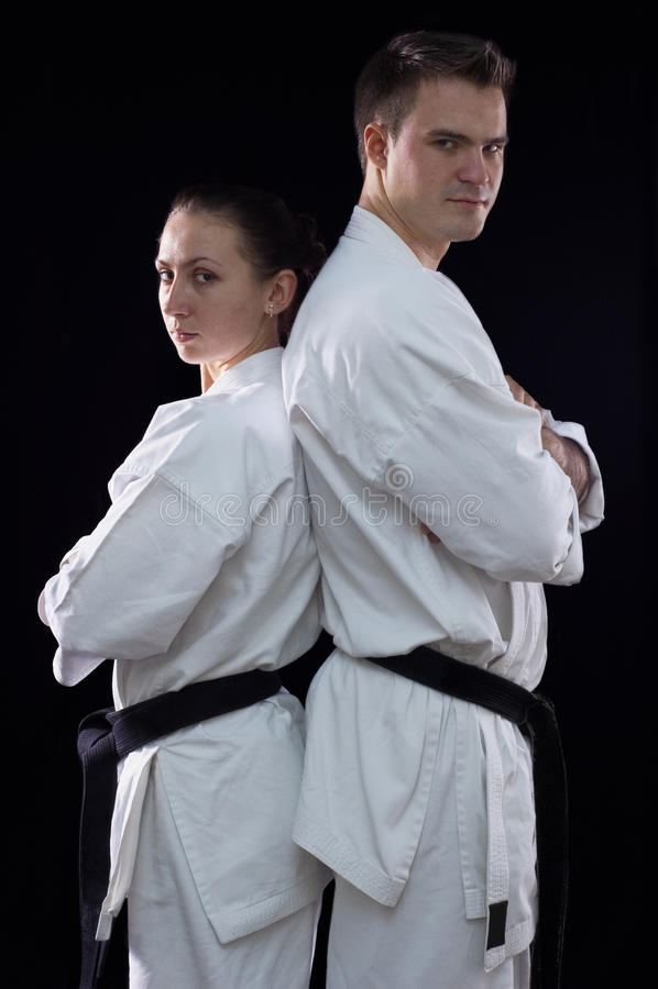 Karateka Paare lizenzfreie stockbilder