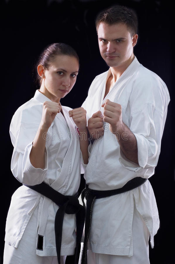 Karateka Paare stockfoto
