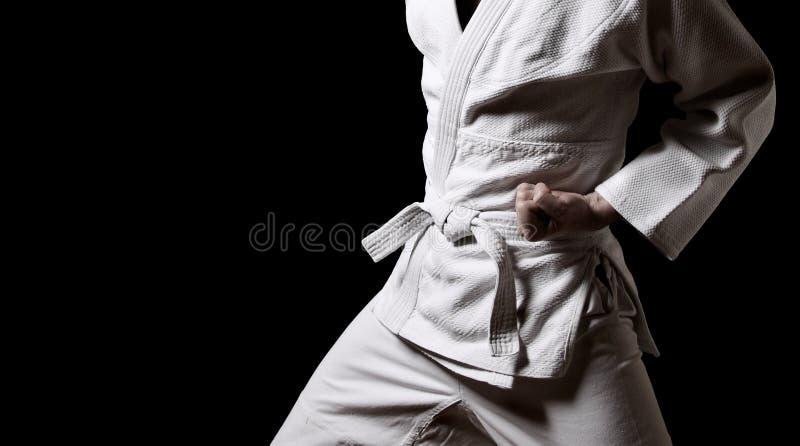 Karateka trennte auf Schwarzem lizenzfreie stockfotos