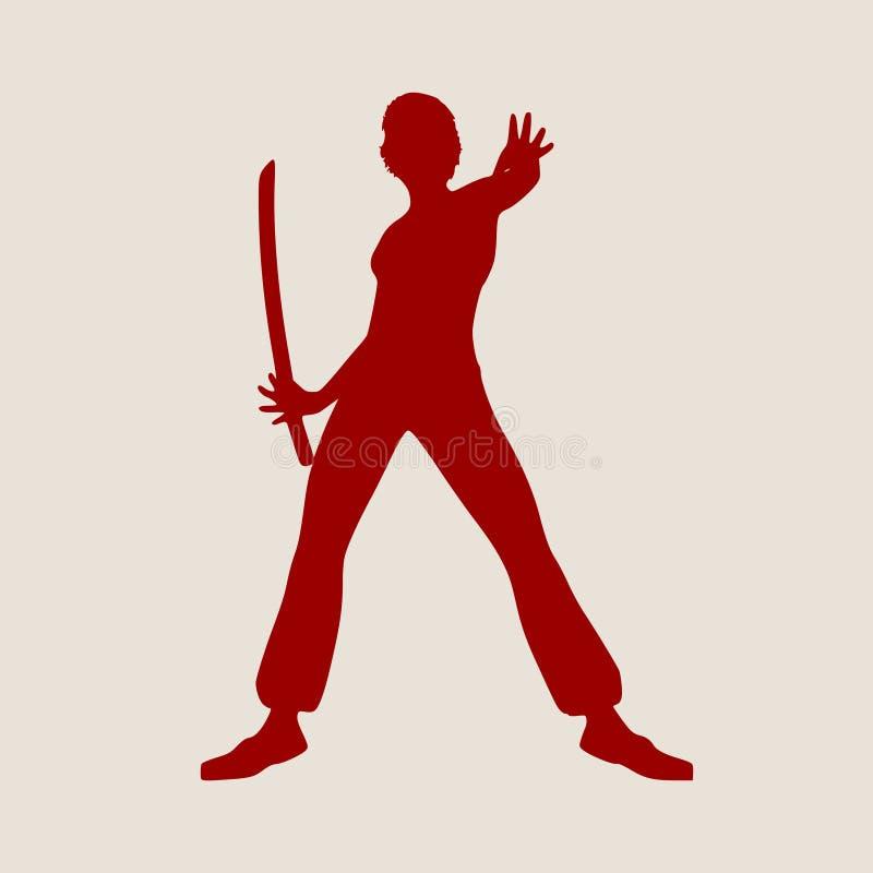Karatekampsportkontur av kvinnan med svärdet vektor illustrationer