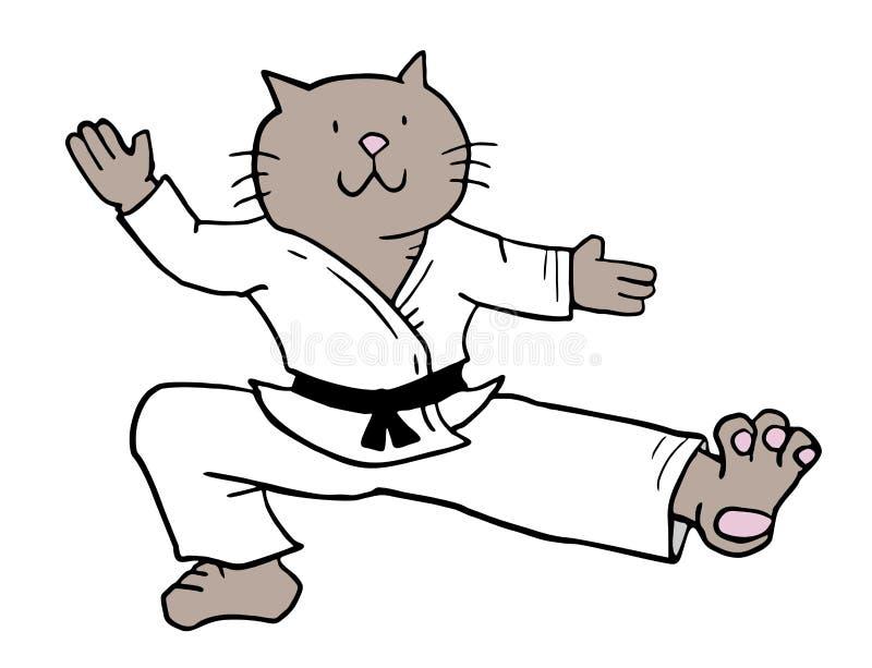 Karatekatt vektor illustrationer