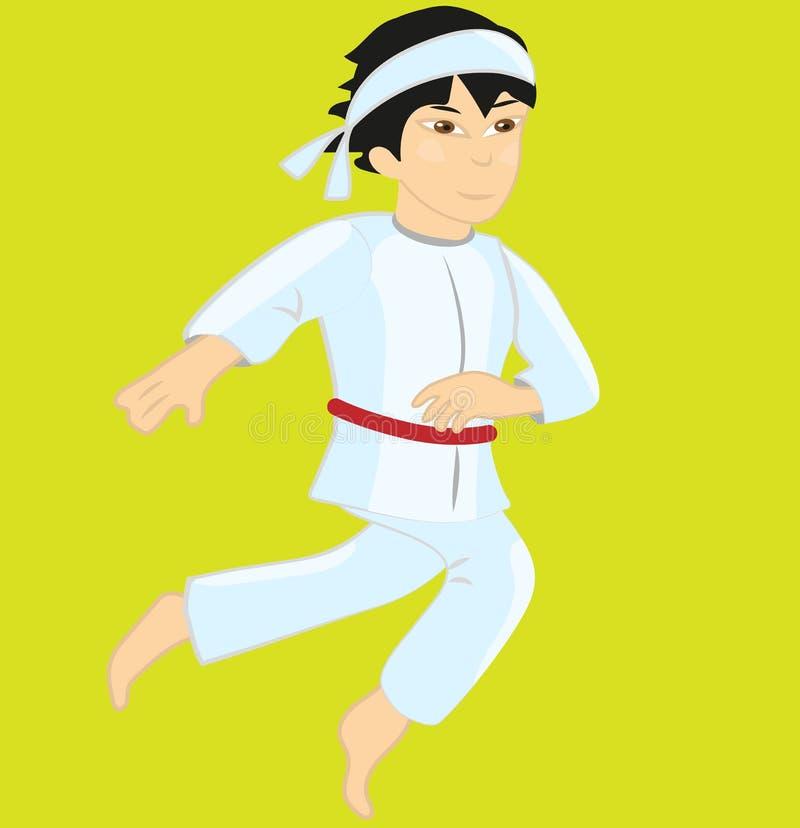 Karatekind, das roten Gurt trägt vektor abbildung