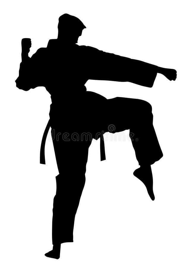 Karatemankämpe i kimonot, kontur Karatemankontur vektor illustrationer