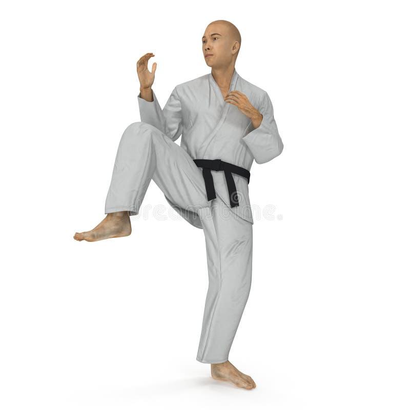 Karatemannen i en kimonostridighet poserar på vit illustration 3d vektor illustrationer