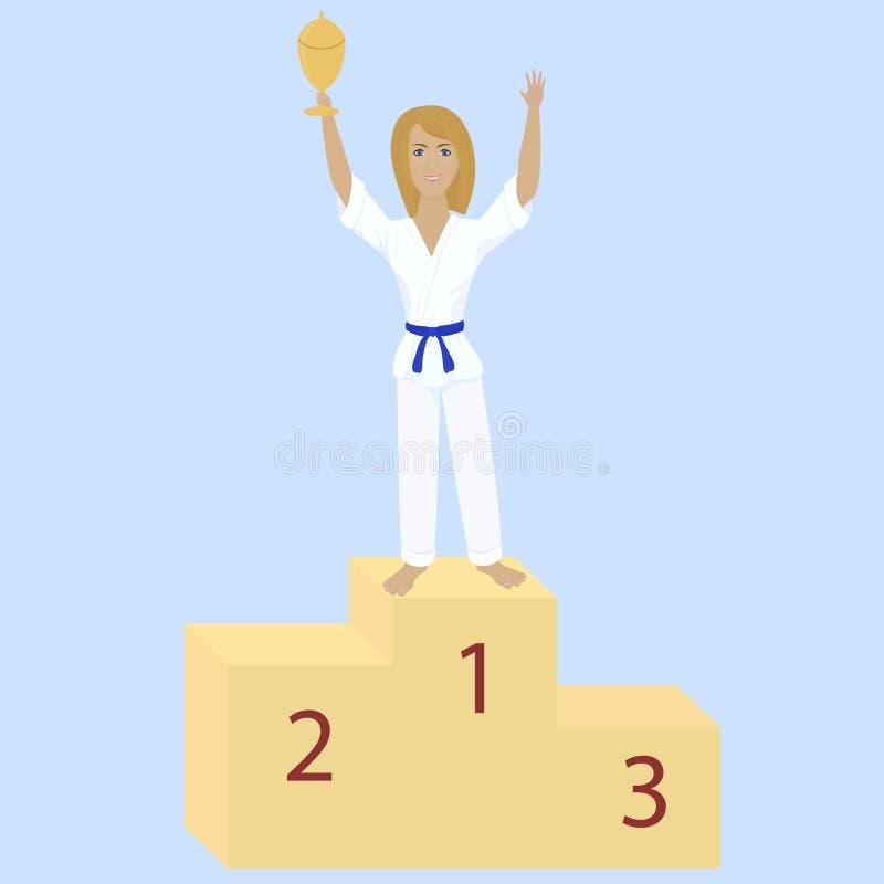Karatemeisje met toekenningskop vector illustratie