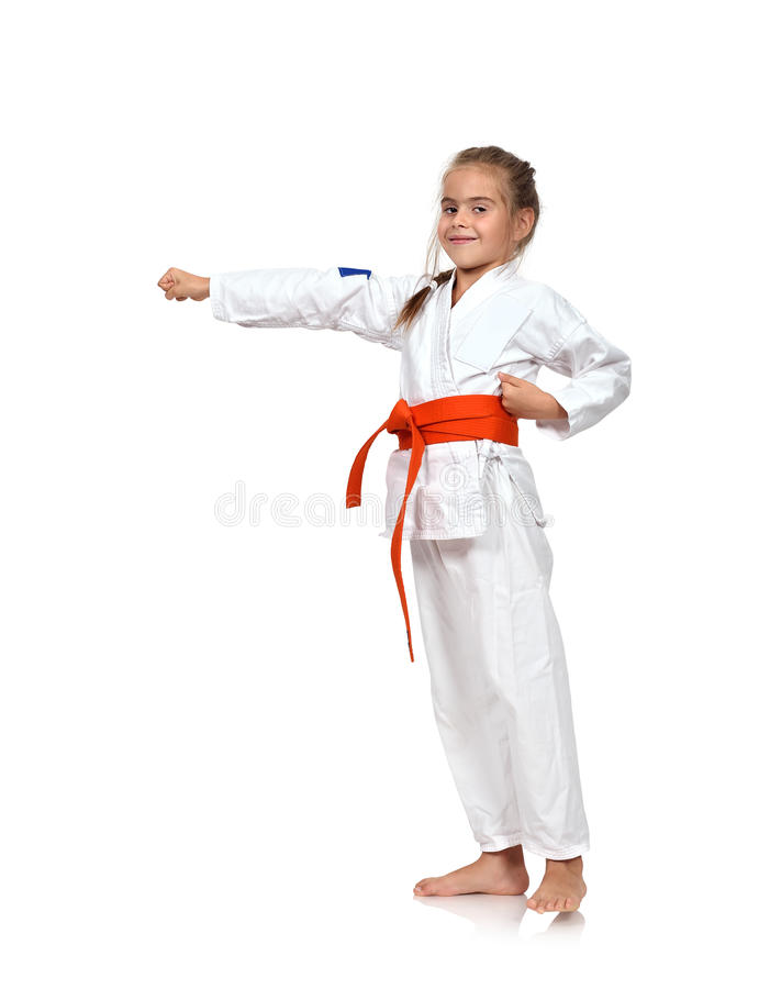 Karatemeisje opleiding stock foto