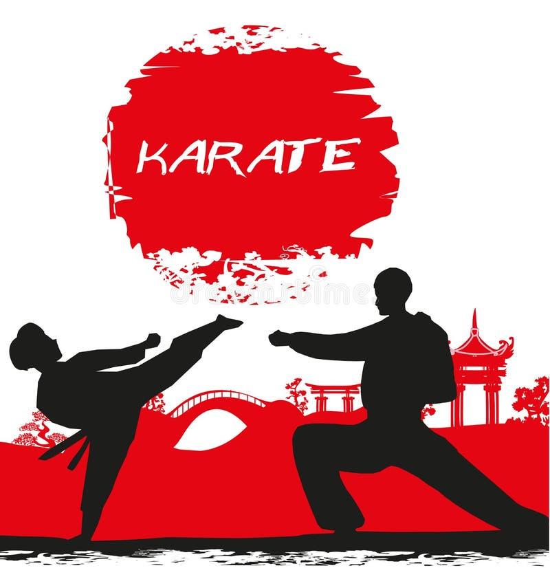 Karateockupationer - Grungebakgrund stock illustrationer