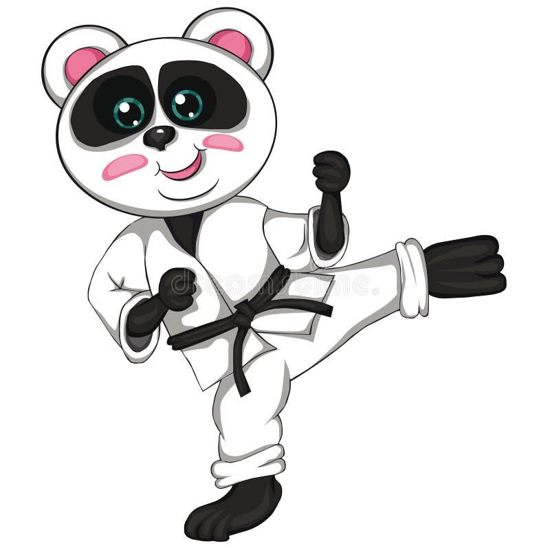 Karatepanda Tecknad filmstil white för bakgrundschickpeabild stock illustrationer